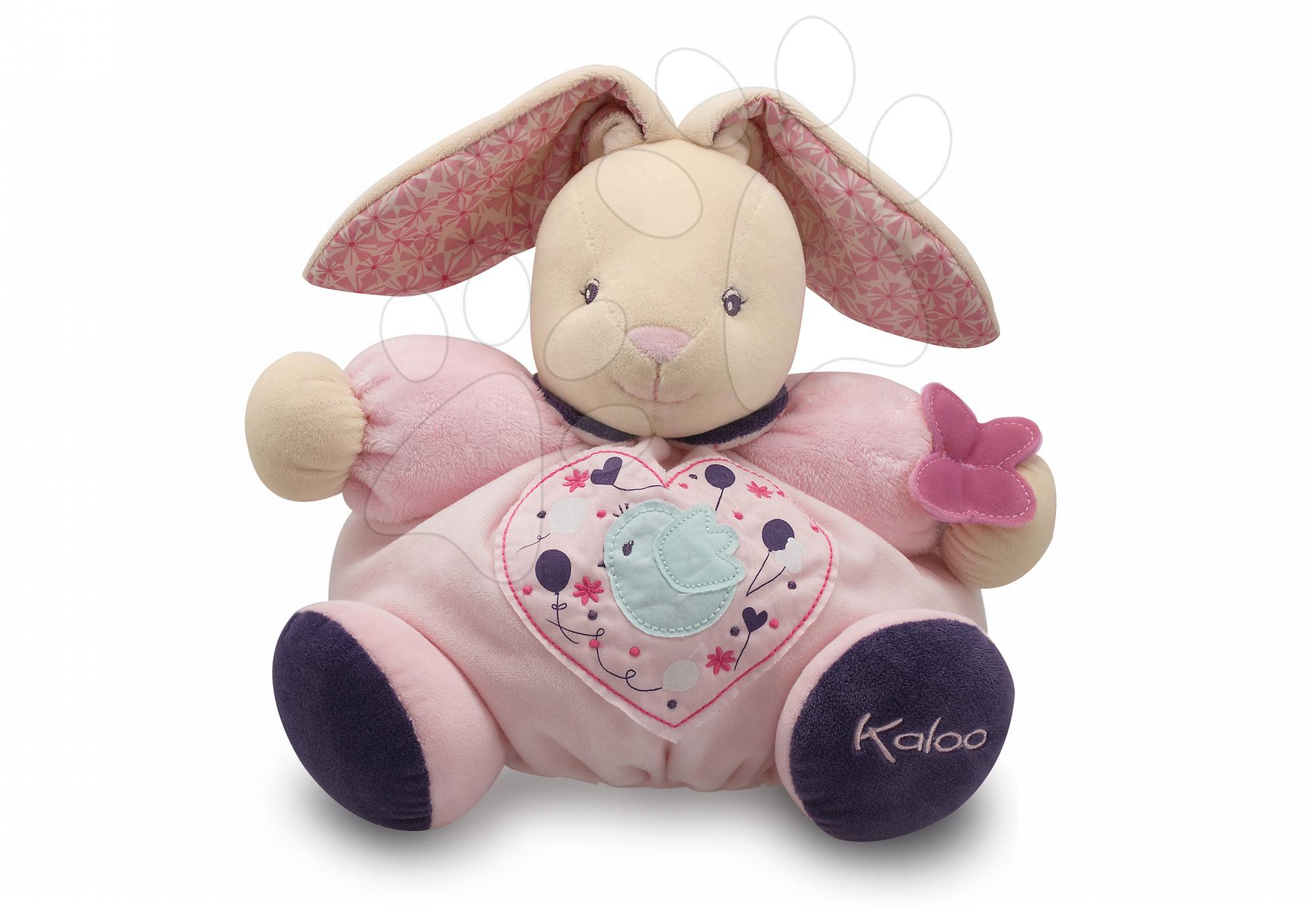 Plyšový zajačik Petite Rose-Chubby Rabbit Birdie Kaloo s hrkálkou 30 cm v darčekovom balení pre najmenších ružový