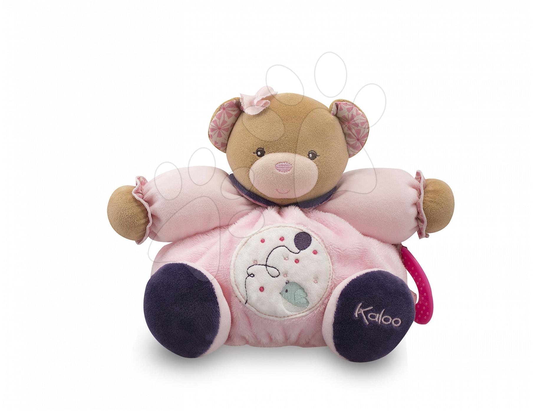 Plyšové medvede - Plyšový medvedík Petite Rose-Chubby Bear Baloon Kaloo s hryzátkom 25 cm v darčekovom balení pre najmenších ružový