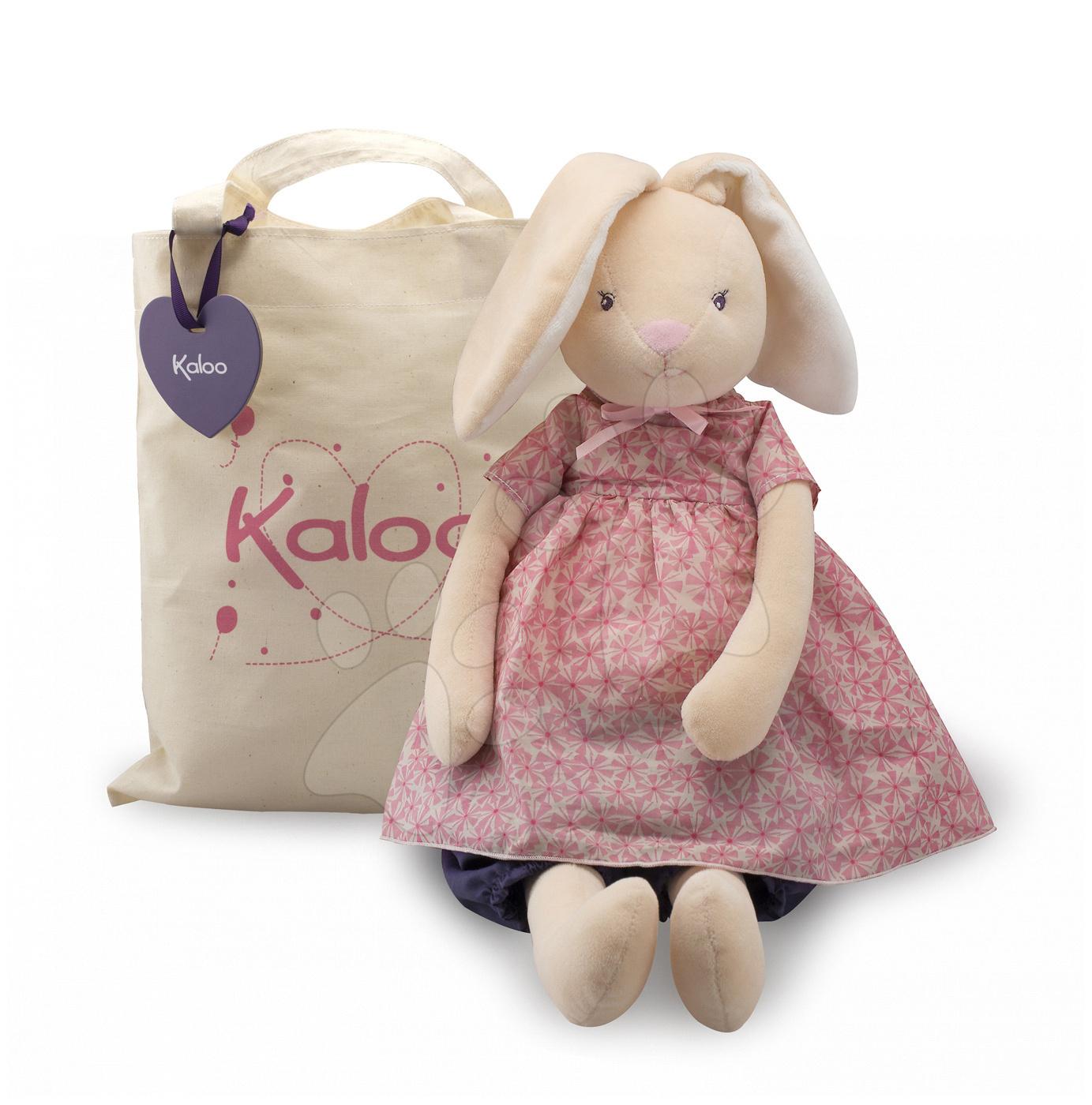 Handrové bábiky - Plyšový zajačik bábika Petite Rose-Maxi Rabbit Doll Kaloo v sukničke 55 cm v darčekovom balení pre najmenších