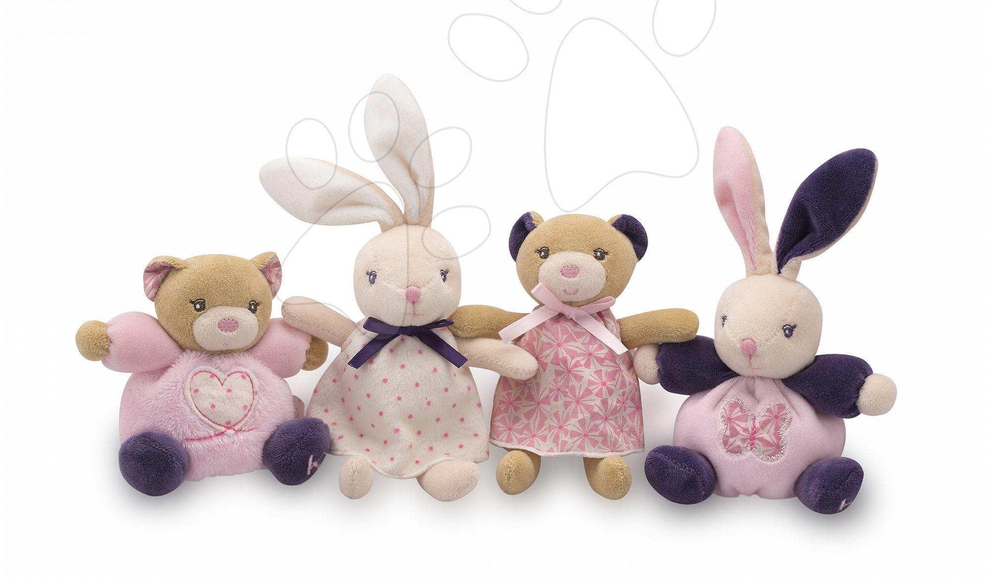 Iepuraş şi ursuleţ din pluş Petite Rose Kaloo 12 cm din pluş moale fin în ambalaj de cadou
