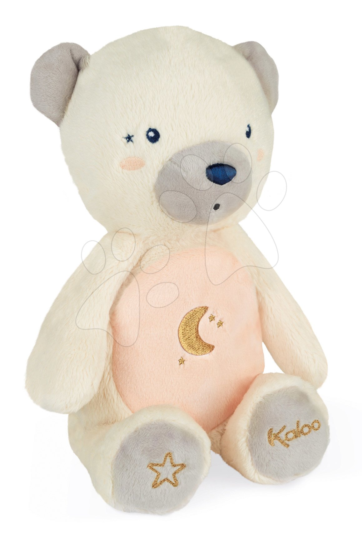 Plyšový medvěd noční světlo My Bear Nightlight Home Kaloo šedo-krémový 22 cm se světlem z jemného plyše od 3 měsíců