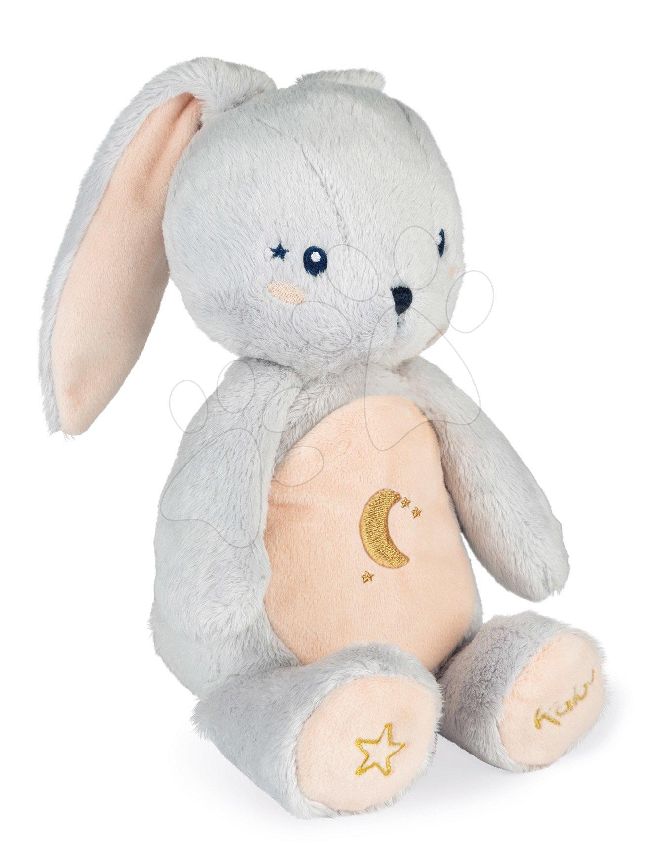 Plyšový zajíček noční světlo My Rabbit Nightlight Home Kaloo šedo-krémový 22 cm se světlem z jemného plyše od 3 měsíců