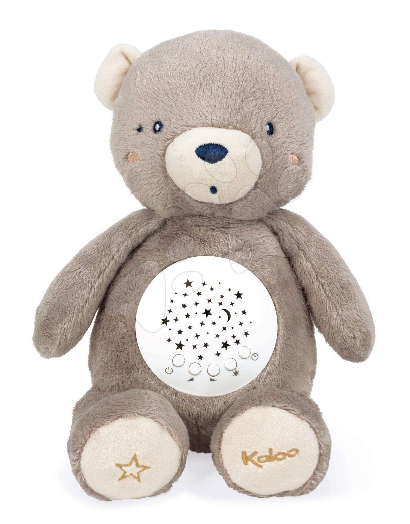 Plyšový medvěd projektor My Projector Nightlight Home Kaloo hnědý 32 cm s 13 světly a 13 melodiemi z jemného plyše od 3 měsíců