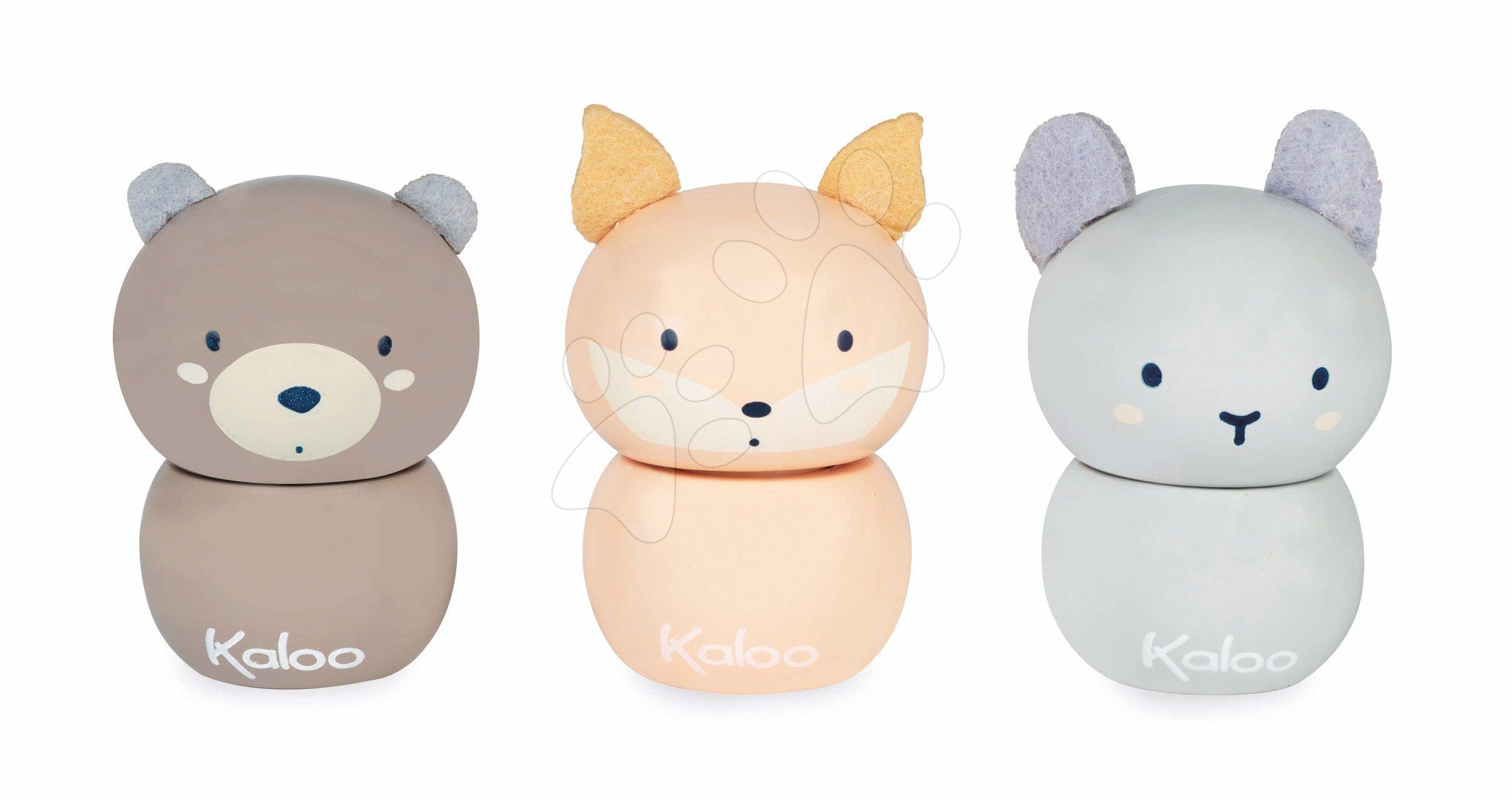 Drevená nádobka na zúbok My little Tooth Box Home Kaloo zvieratká zajačik medveď líška 6 cm s plyšovými ušami (cena za 1 kus)