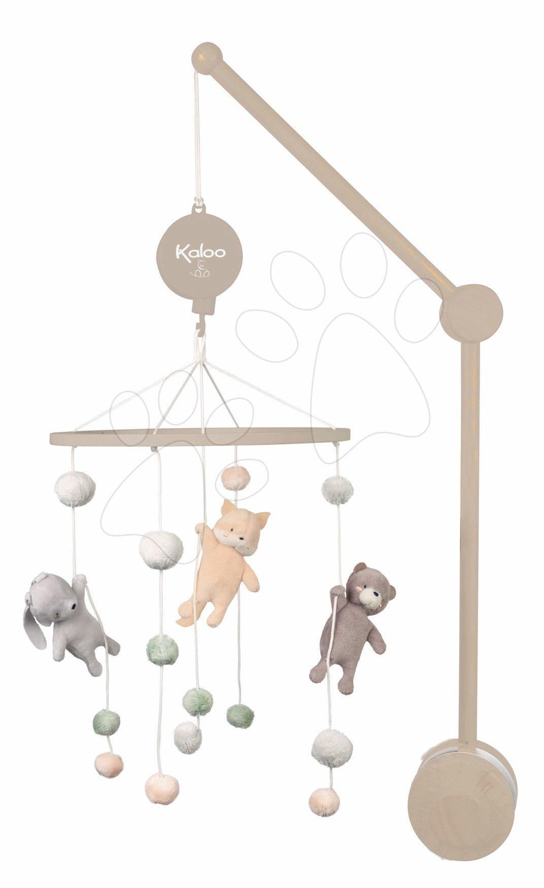 """Dřevěný kolotoč a plyšová zvířátka My all-soft Musical Mobile Home Kaloo s hudbou """"Brahms Lullaby"""" 70 cm od 0 měsíců"""