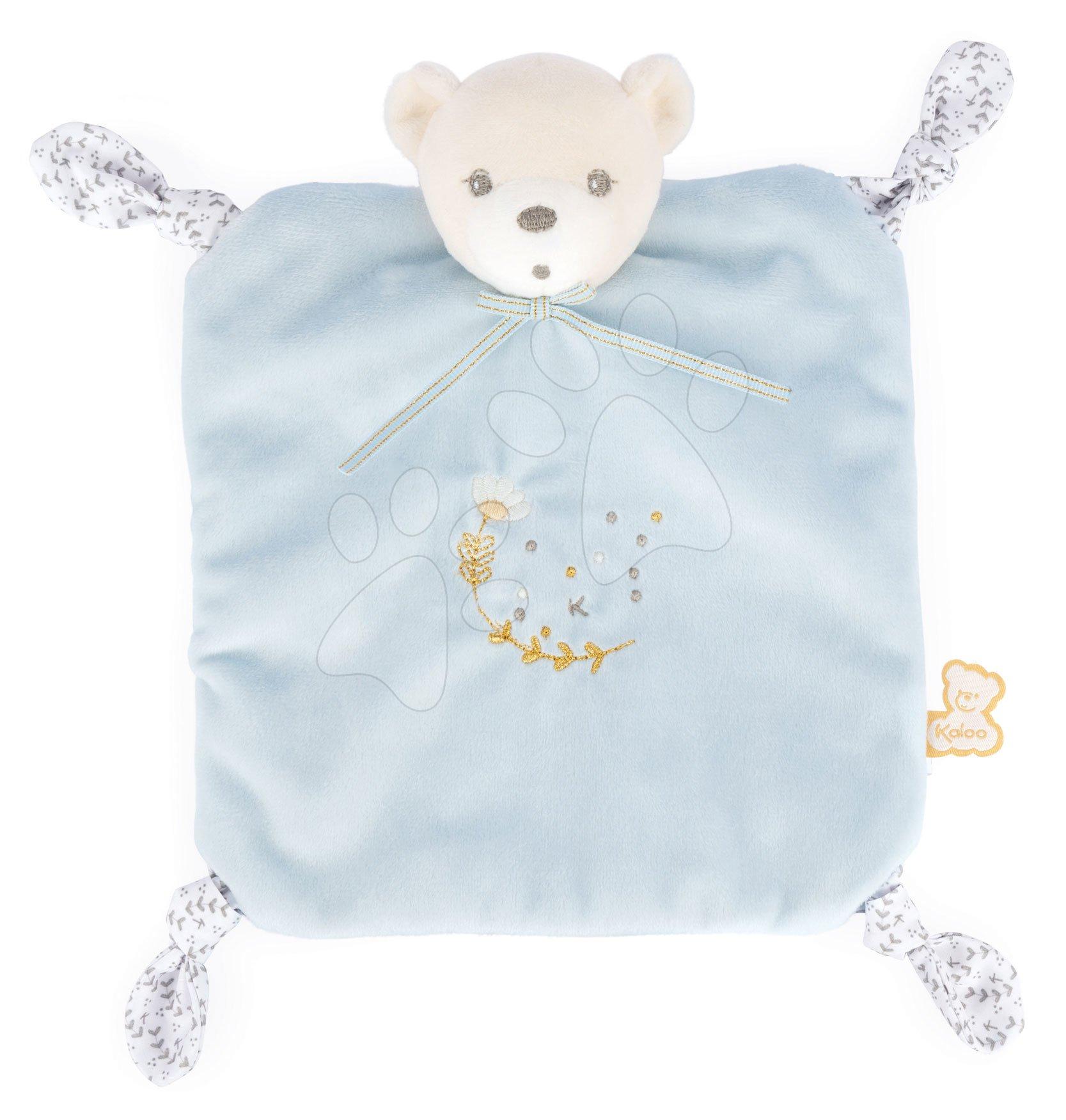 Plyšový medveď na maznanie Round Doudou Bear Blue Perle Kaloo modrý 20 cm z jemného mäkkého materiálu od 0 mes