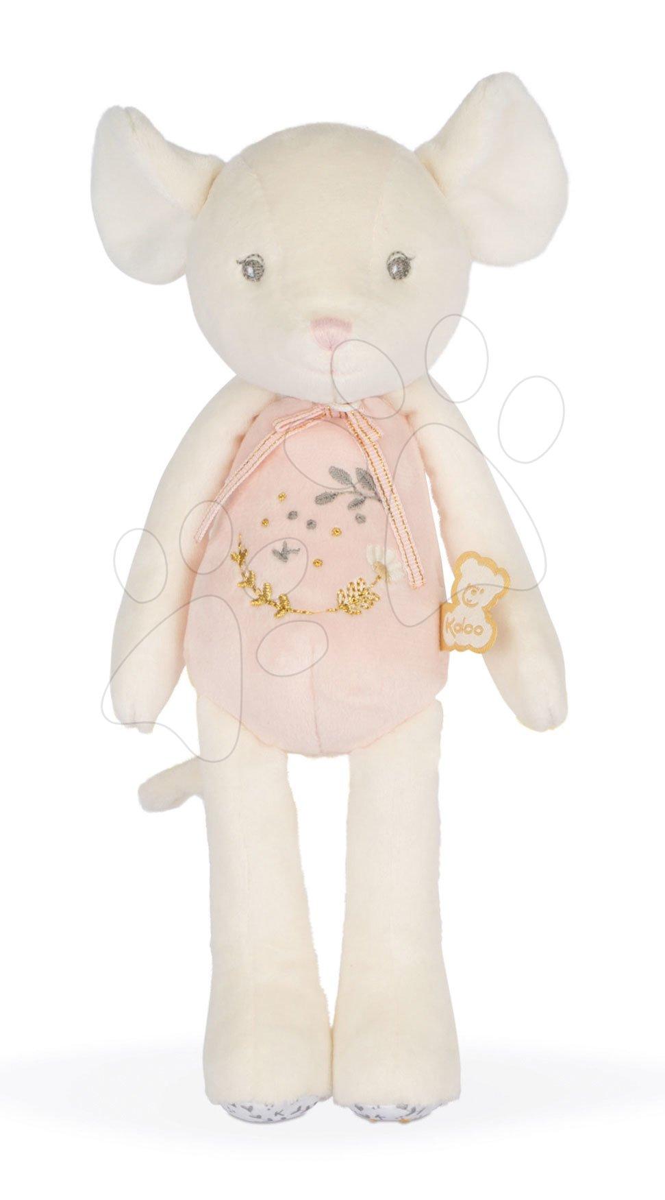 Plyšová bábika myška Doll Mouse Mini Perle Kaloo ružový 25 cm s výšivkou z jemného mäkkého materiálu od 0 mes
