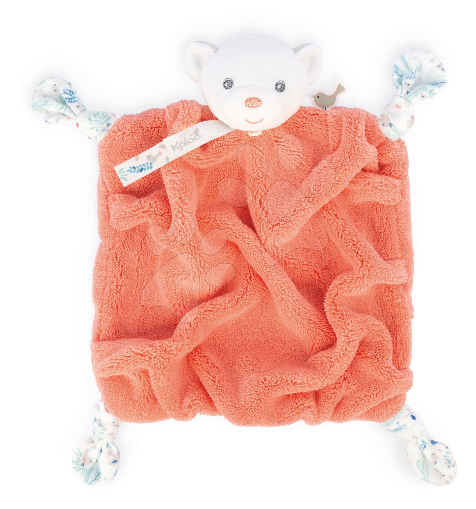 Plyšový medveď maznáčik Plume Doudou Bear Coral Kaloo koralový 20 cm pre bábätká v darčekovom balení od 0 mes