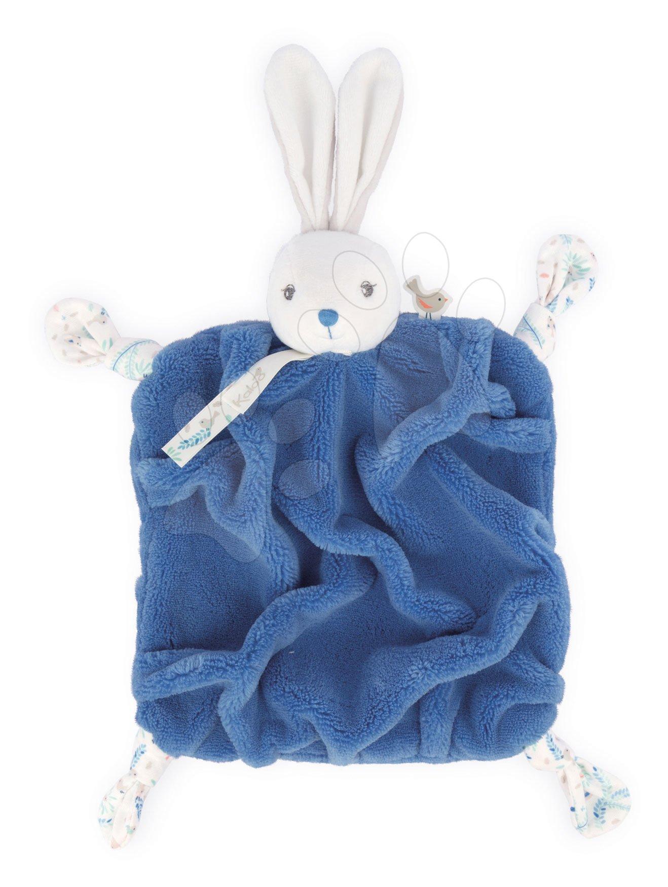 Plyšový zajačik maznáčik Plume Doudou Rabbit Ocean Blue Kaloo modrý 20 cm pre bábätká v darčekovom balení od 0 mes