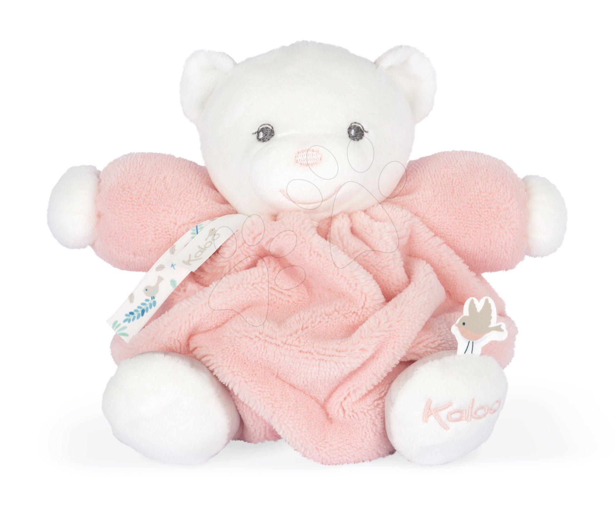 Plyšový medveď Chubby Bear Powder Pink Plume Kaloo ružový 18 cm z jemného mäkkého materiálu v darčekovom balení od 0 mes