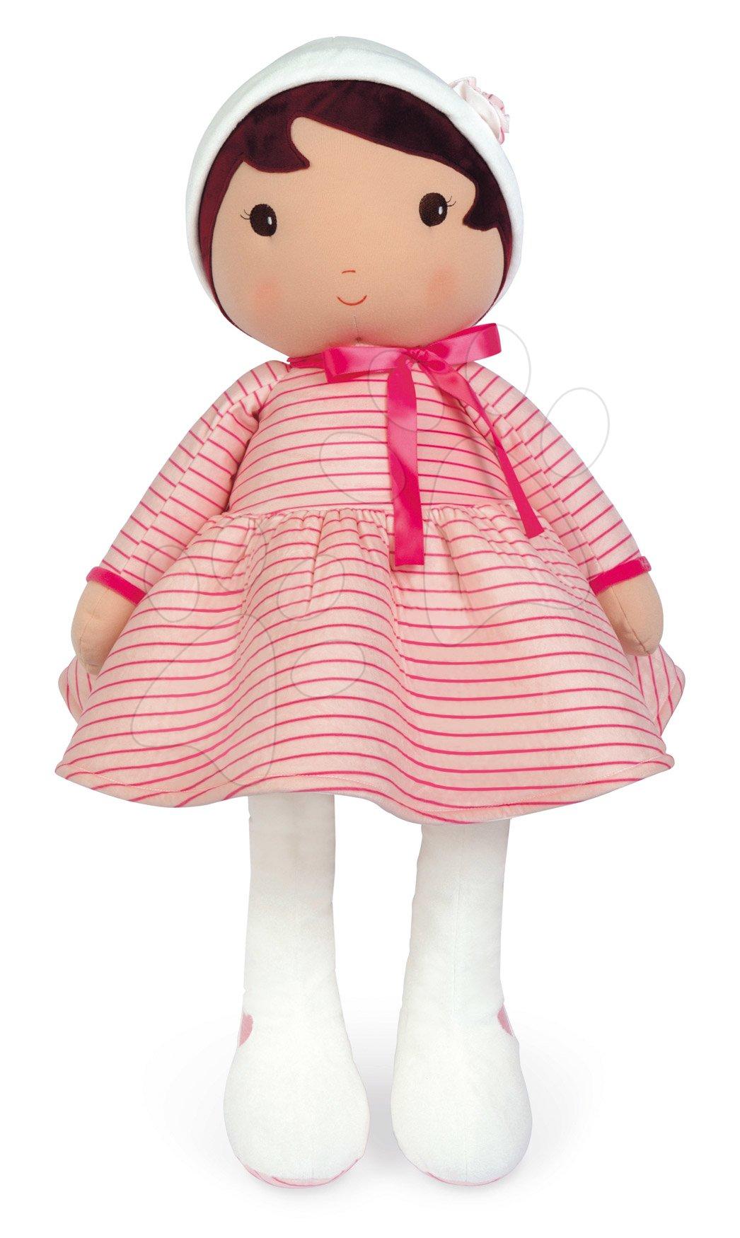 Bábika pre bábätká Rose K Doll XXL Tendresse Kaloo z jemného materiálu 80 cm v ružových pásikavých šatočkách od 0 mes