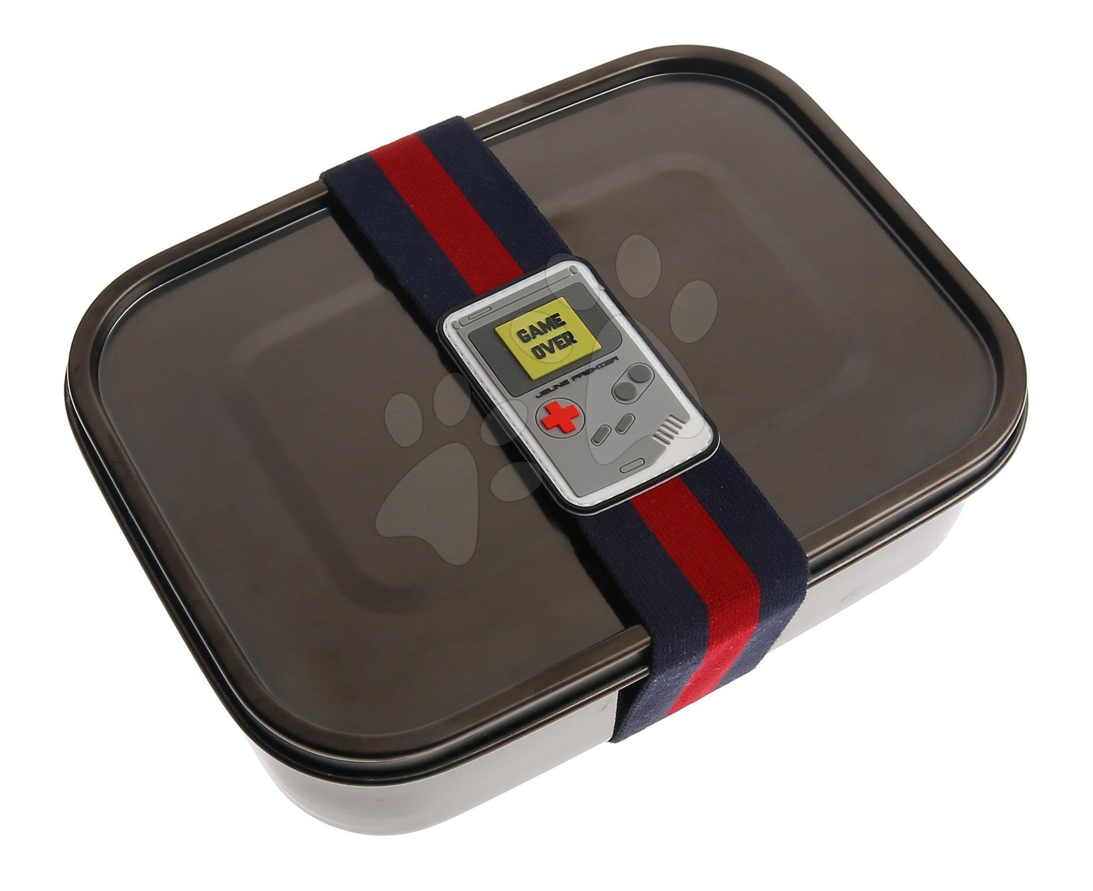 Box na desiatu Stainless Steel Lunchbox Boys Black Nickel Mr. Gadget Jeune Premier 100% nehrdzavejúca oceľ luxusné prevedenie 21*7 cm
