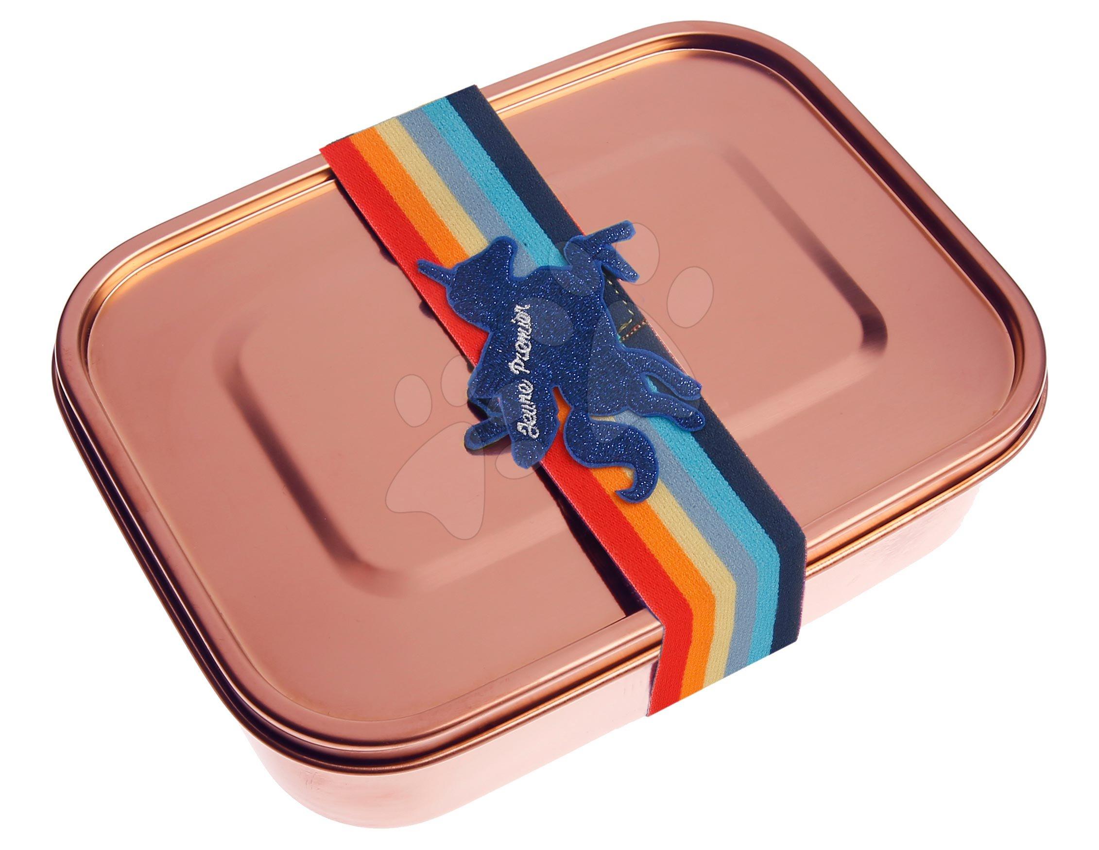 Box na desiatu Stainless Steel Lunchbox Girls Rose gold Unicorn Universe Jeune Premier 100% nehrdzavejúca oceľ luxusné prevedenie 21*7 cm