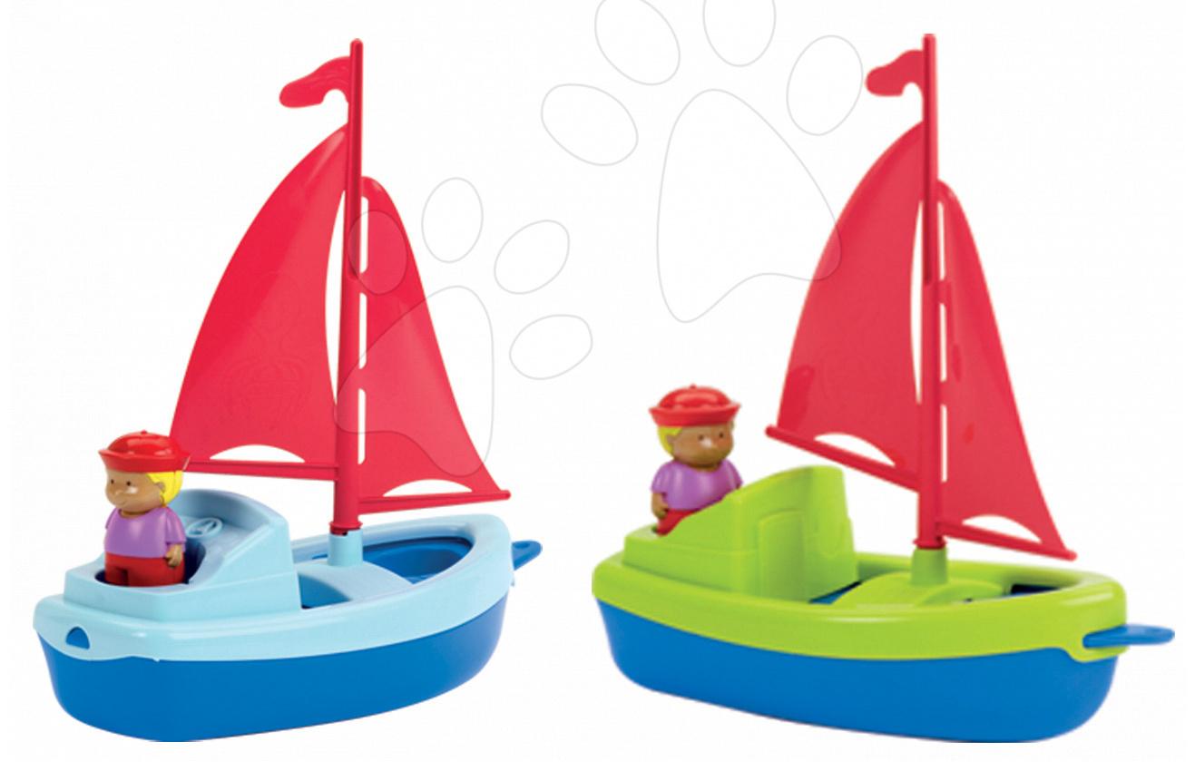 Loďky a člunky k vodě - Plachetnice s námořníkem Écoiffier (délka 13 cm) červená/žlutá od 18 měsíců