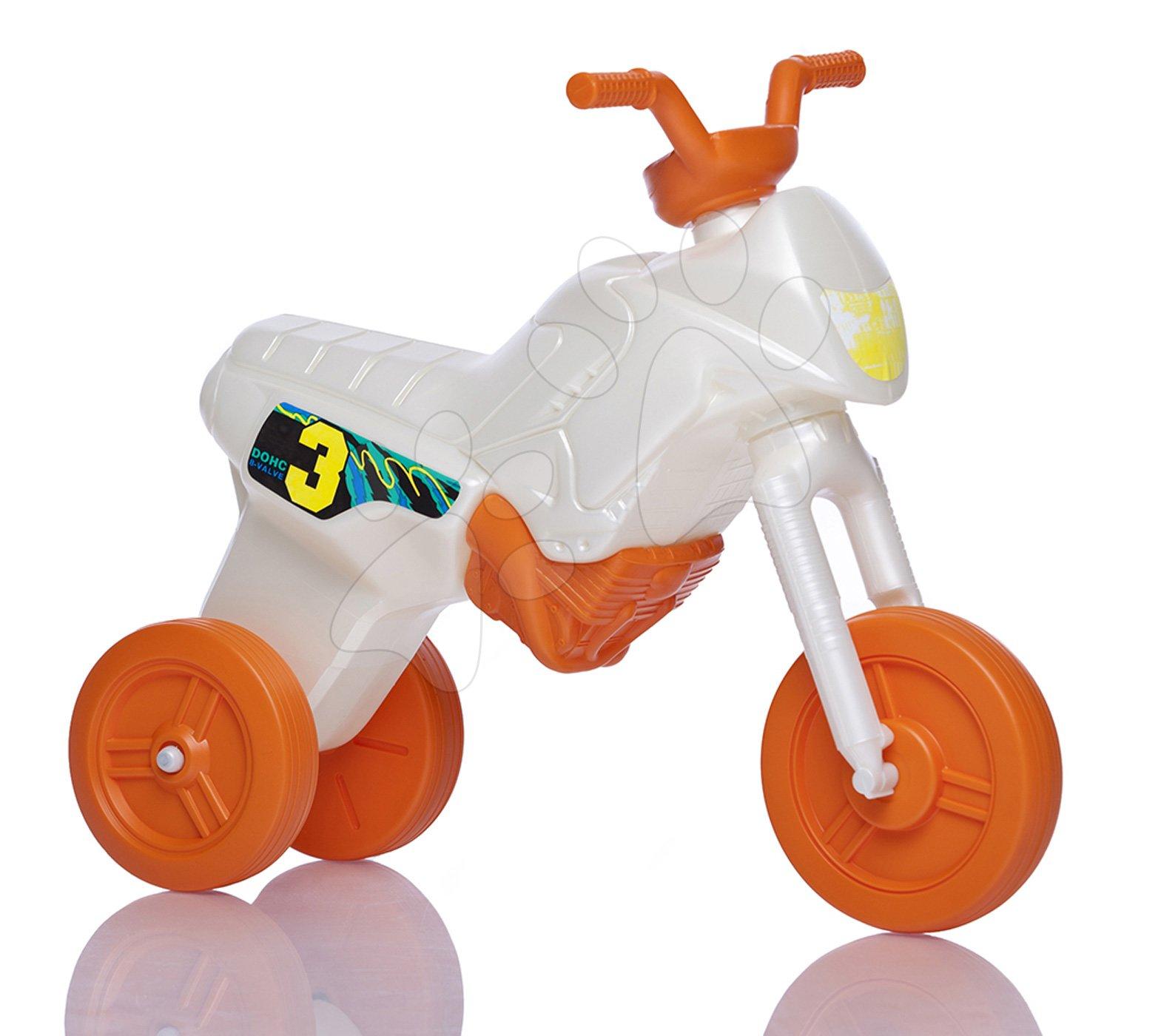 Motorky - Odrážadlo Enduro malé bielo-oranžové od 18 mes