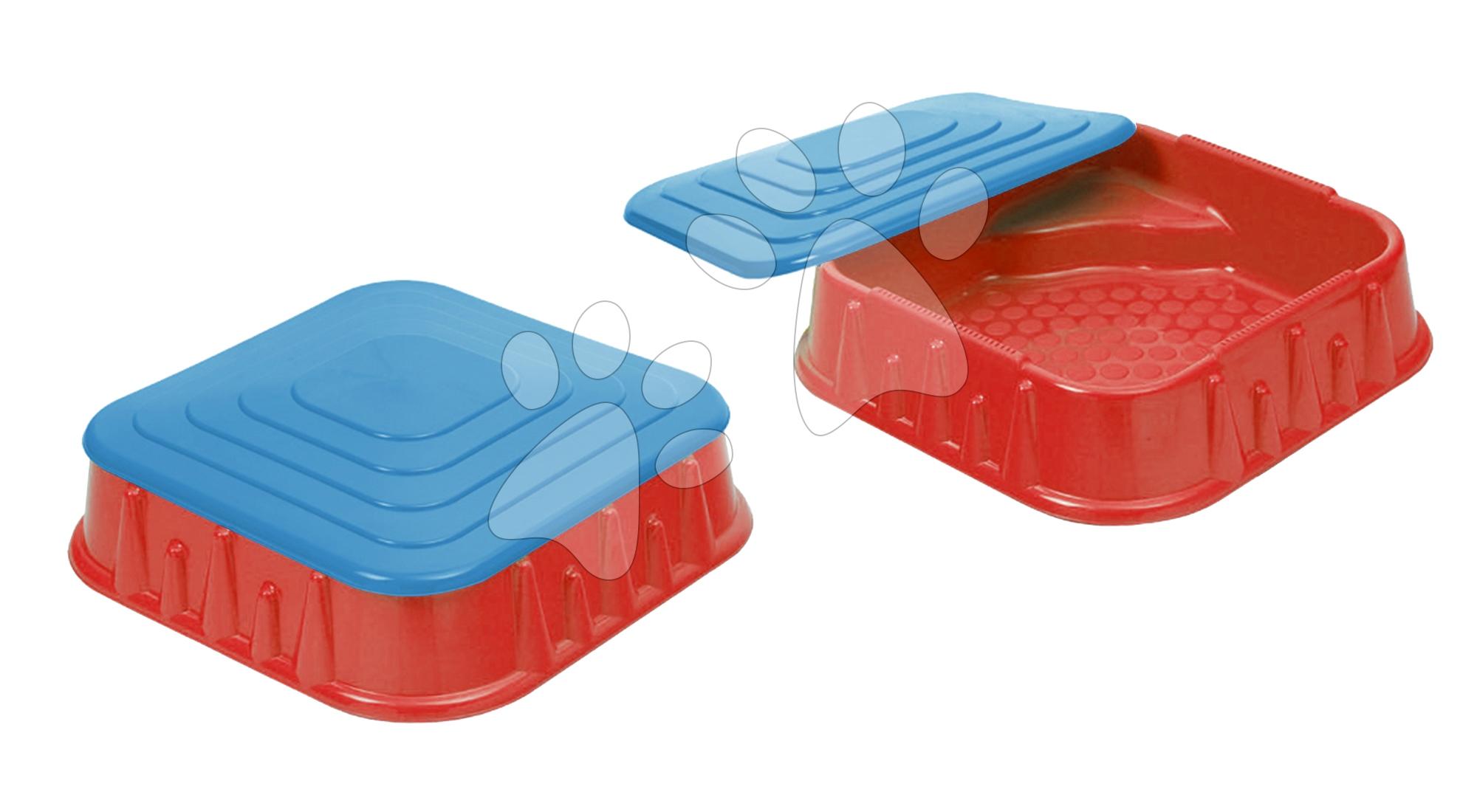 Pískoviště Starplast čtvercové s krytem objem 60 litrů červeno-modré od 24 měsíců