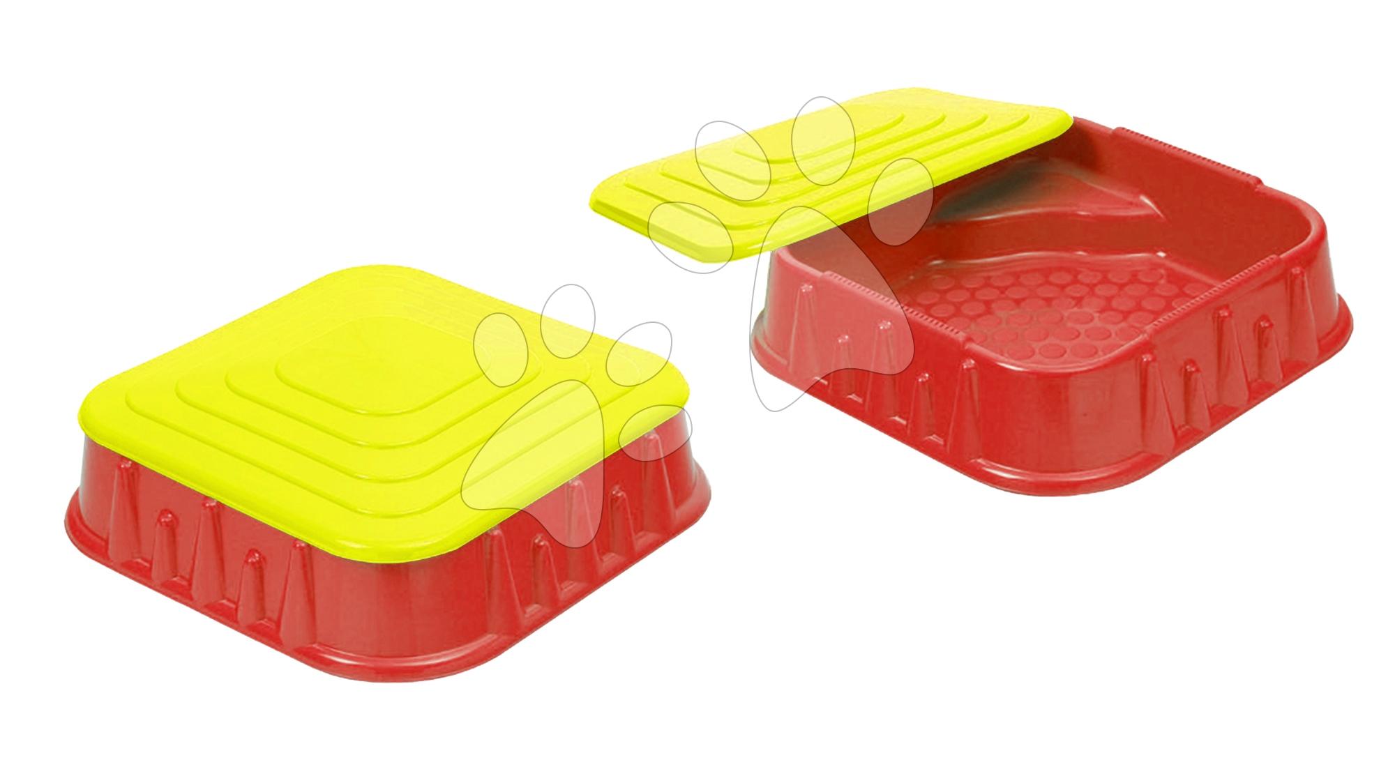 Pískoviště Starplast čtverec s krytem objem 60 litrů červeno-žluté od 24 měsíců