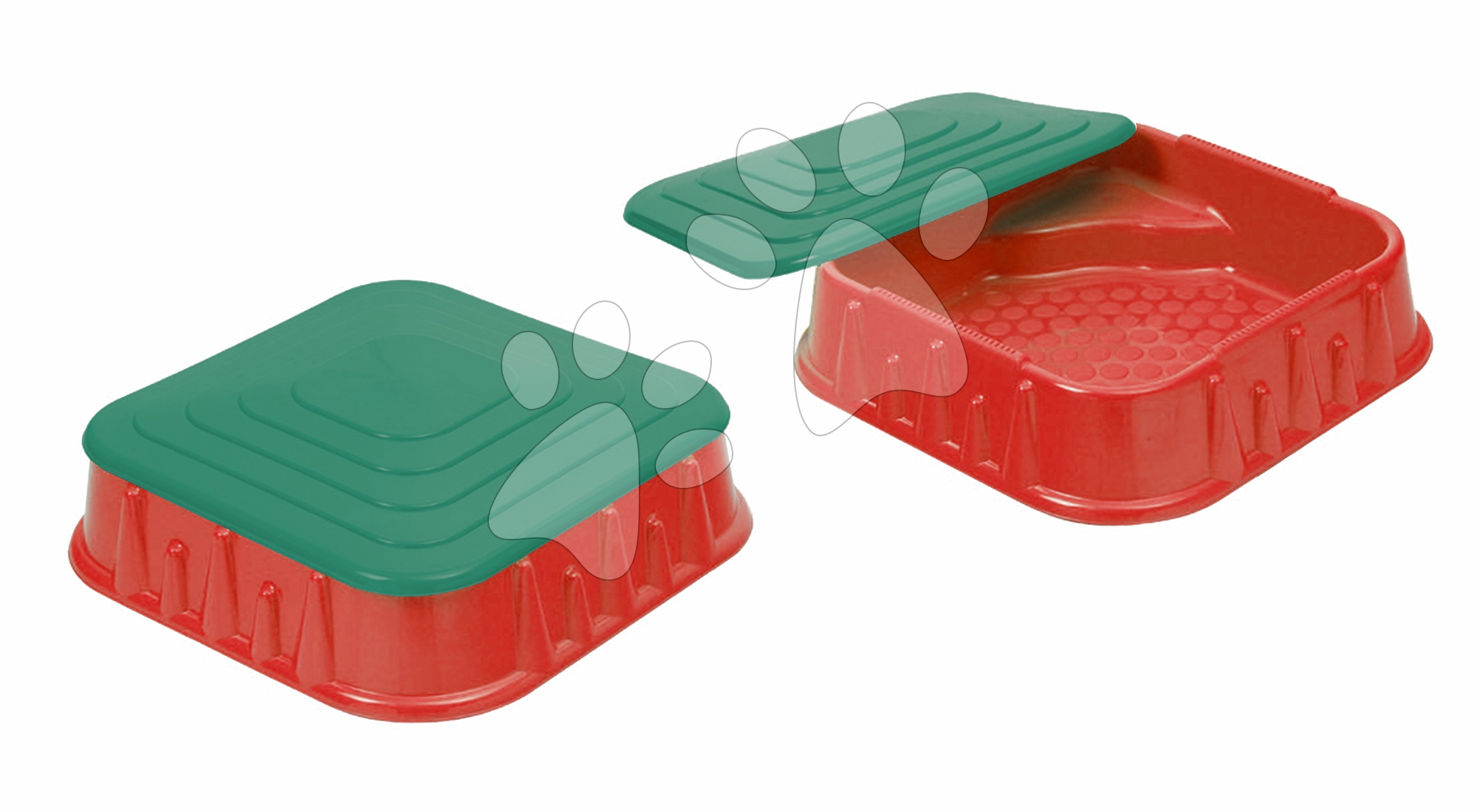 Pieskoviská pre deti - Pieskovisko Starplast štvorcové s krytom objem 60 litrov červeno-tmavozelené od 24 mes