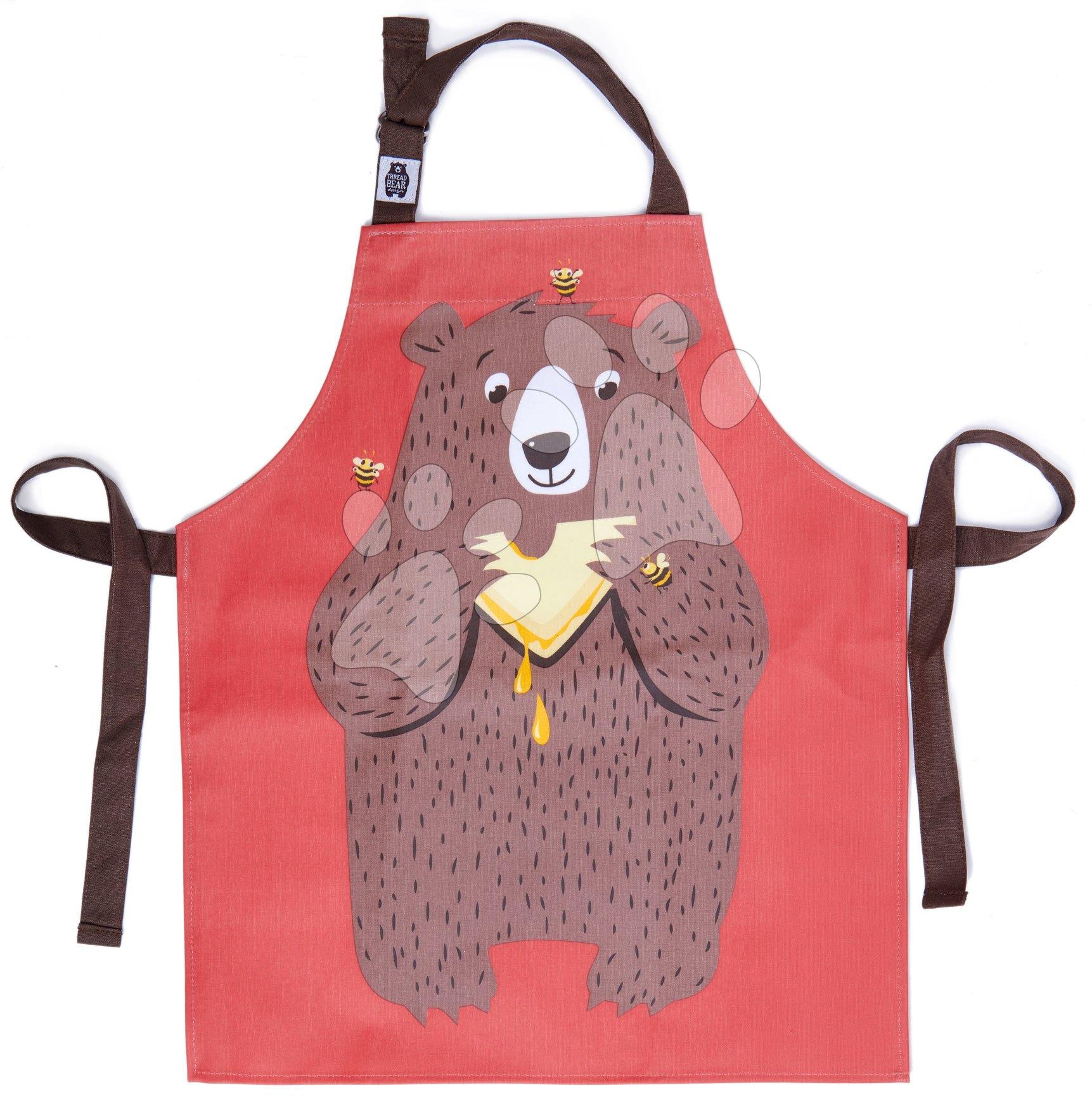 Zástera pre deti medveď Fred The Bear Cotton Apron ThreadBear z bavlny od 6-8 rokov