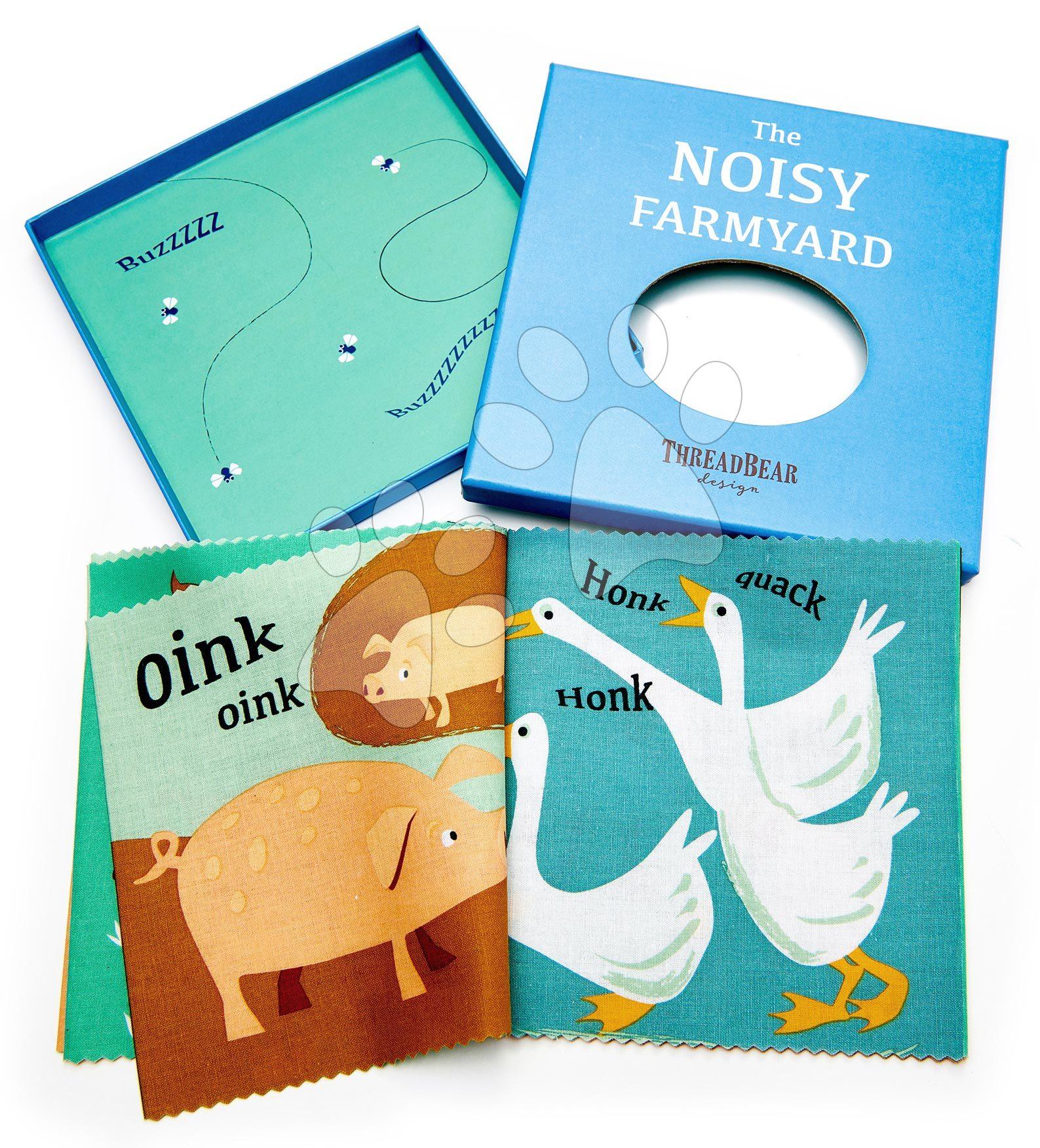 Textilná knižka Noisy Farmyard Rag Book ThreadBear s 12 domácimi zvieratkami 100% jemná bavlna v darčekovom balení od 0 mes