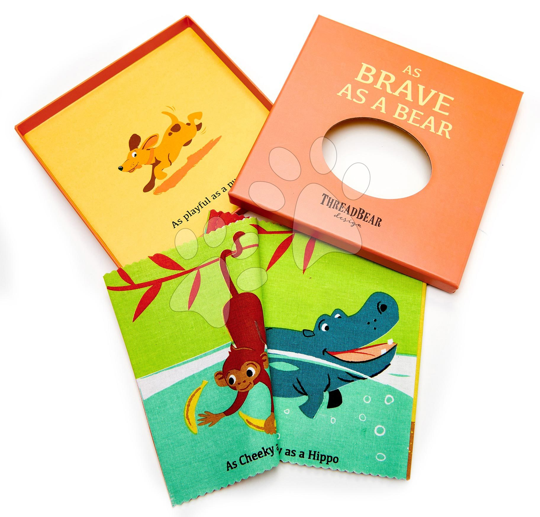 Textilní knížka Brave as a Bear Rag Book ThreadBear s 12 divokými zvířátky 100% jemná bavlna v dárkovém balení od 0 měs