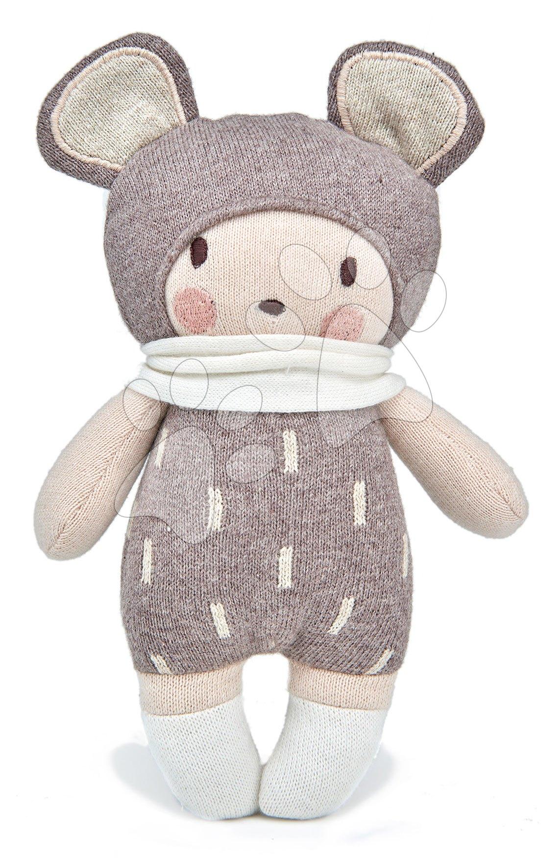 Panenka pletená šedá Baby Beau Knitted Doll ThreadBear 24 cm z jemné a měkké bavlny v dárkovém balení od 0 měsíců