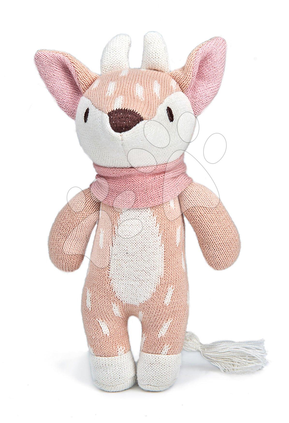 Panenka pletená jelen Fearne Deer Knitted Baby Doll ThreadBear 18 cm z jemné a měkké bavlny s dárkovým štítkem od 0 měsíců