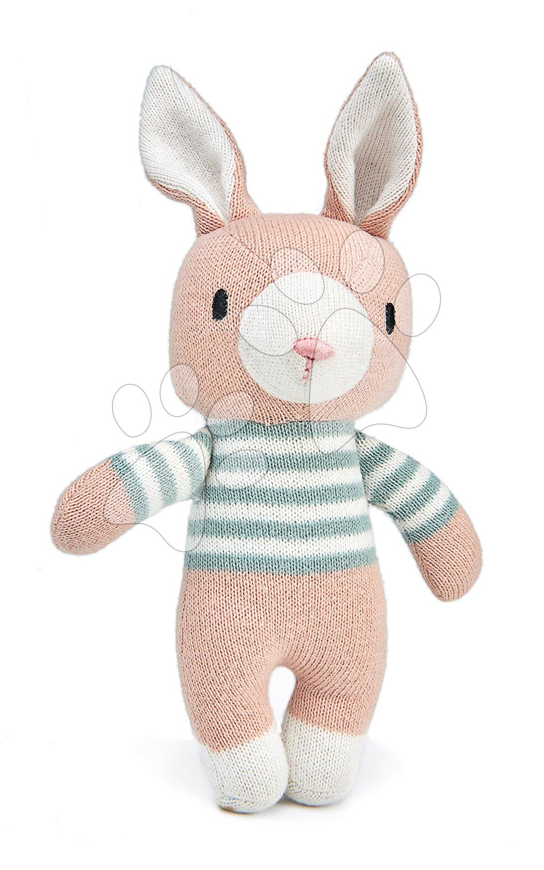 Panenka pletená zajíček Finbar Hare Knitted Baby Doll ThreadBear 18 cm z jemné a měkké bavlny s dárkovým štítkem od 0 měsíců