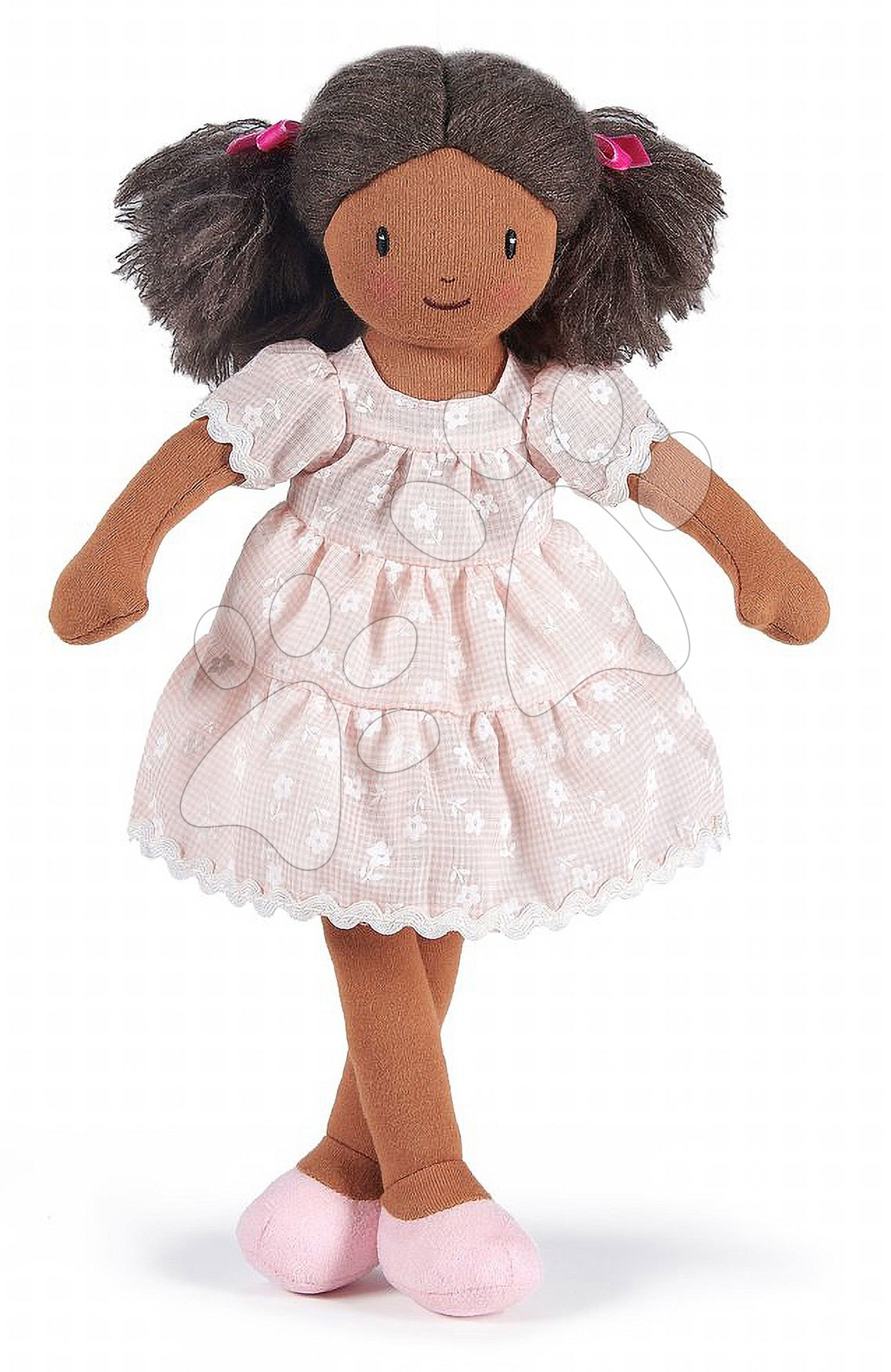 Hadrové panenky - Panenka hadrová Mia Rag Doll ThreadBear 35 cm z jemné měkké bavlny s tmavými vlásky