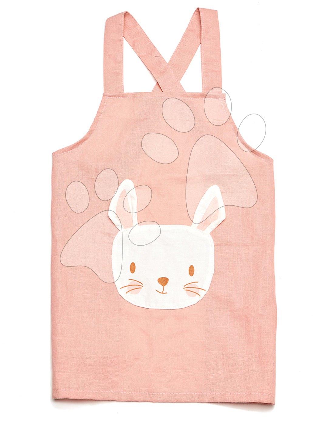 Zástera pre deti Zajačik Rabbit Linen Cotton Apron ThreadBear z bavlny pastelovo-ružová od 3-8 rokov