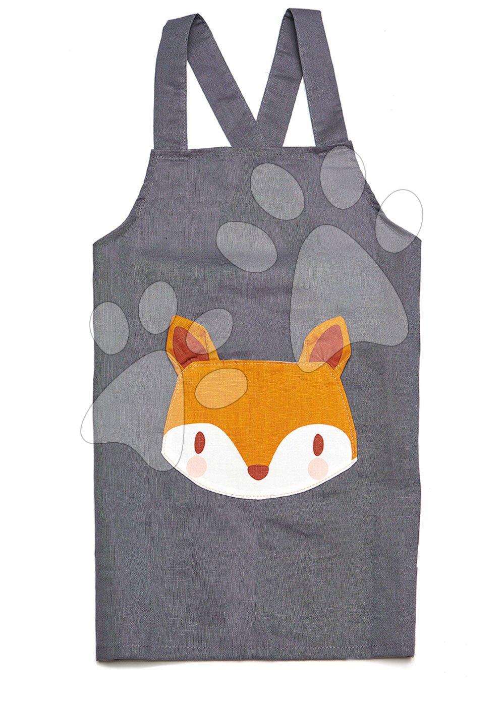 Zástěra pro děti Liška Fox Linen Cotton Apron ThreadBear z bavlny jemně šedá od 3–8 let