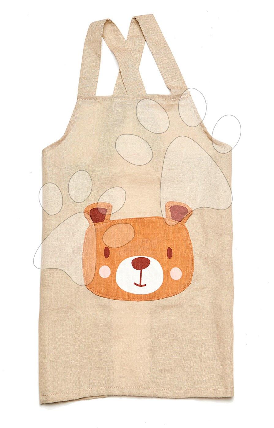 Zástěra pro děti Medvěd Bear Linen Cotton Apron ThreadBear z bavlny jemně béžová od 3–8 let