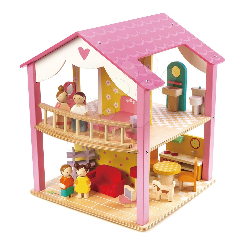 Drevený domček pre bábiku Pink Leaf House Tender Leaf Toys 22 dielov, rotujúci s komplet vybavením a 4 postavičkami