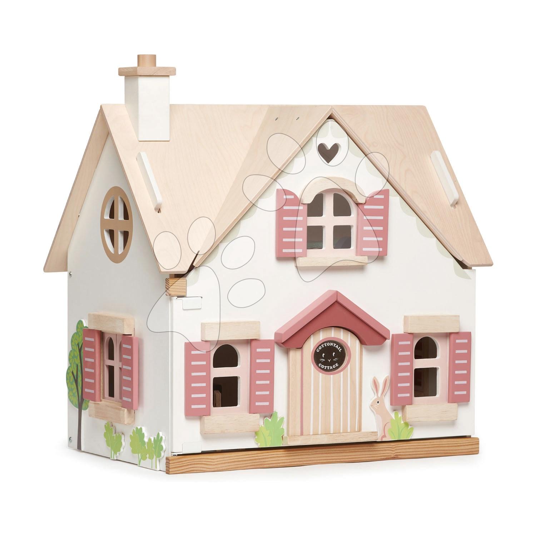 Drevený vidiecky domček pre bábiku Cottontail Cottage Tender Leaf Toys 13 dielov so štýlovým retro nábytkom výška 48 cm
