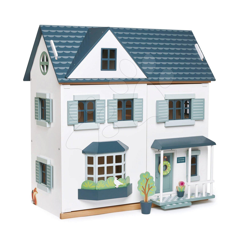 Drevený domček pre bábiku Dovetail House Tender Leaf Toys ultra štýlový so 6 izbami a parketami, bez nábytku a postavičiek