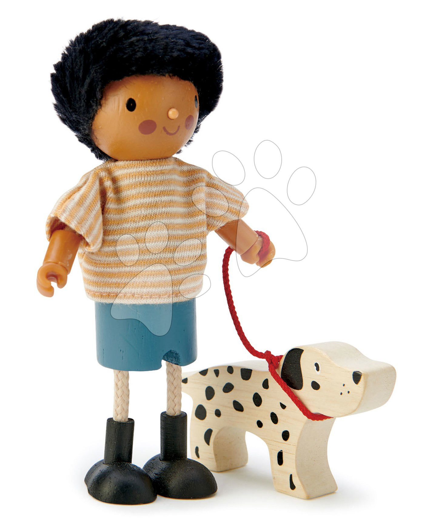 Fa babaházak  - Fa figura kutyussal Mr. Forrester Tender Leaf Toys csikos trikóban