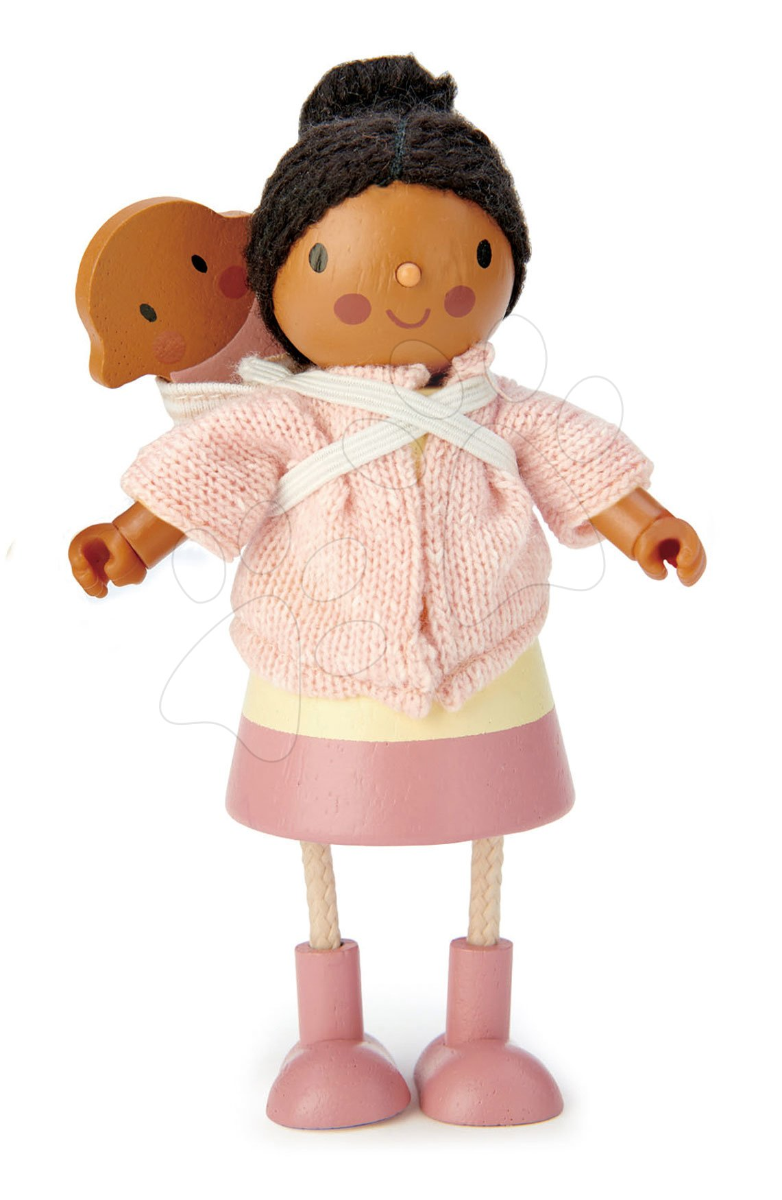 Dřevěné domky pro panenky - Dřevěná postavička s miminkem Mrs. Forrester Tender Leaf Toys v růžovém kabátku
