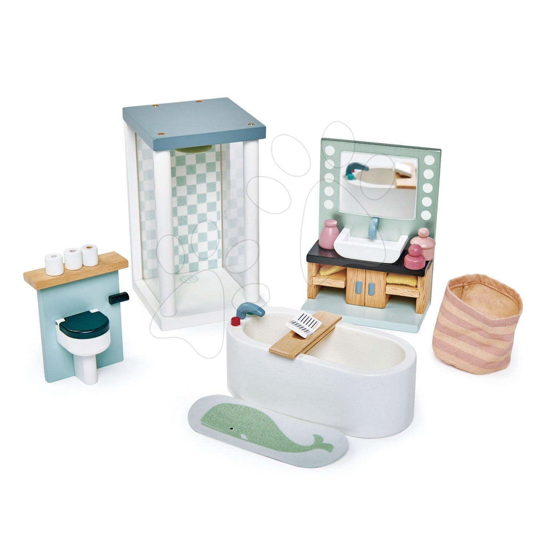 Dřevěná koupelna Dovetail Bathroom Set Tender Leaf Toys 6dílná sada s komplet vybavením a doplňky