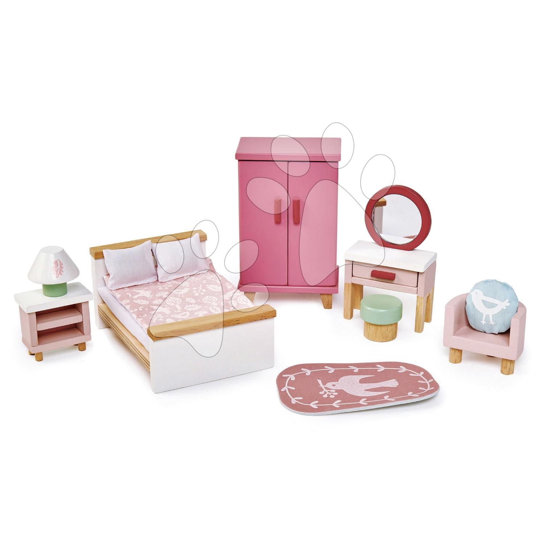 Drevený nábytok do spálne Dovetail Bedroom Set Tender Leaf Toys 9-dielna súprava s komplet vybavením a doplnkami