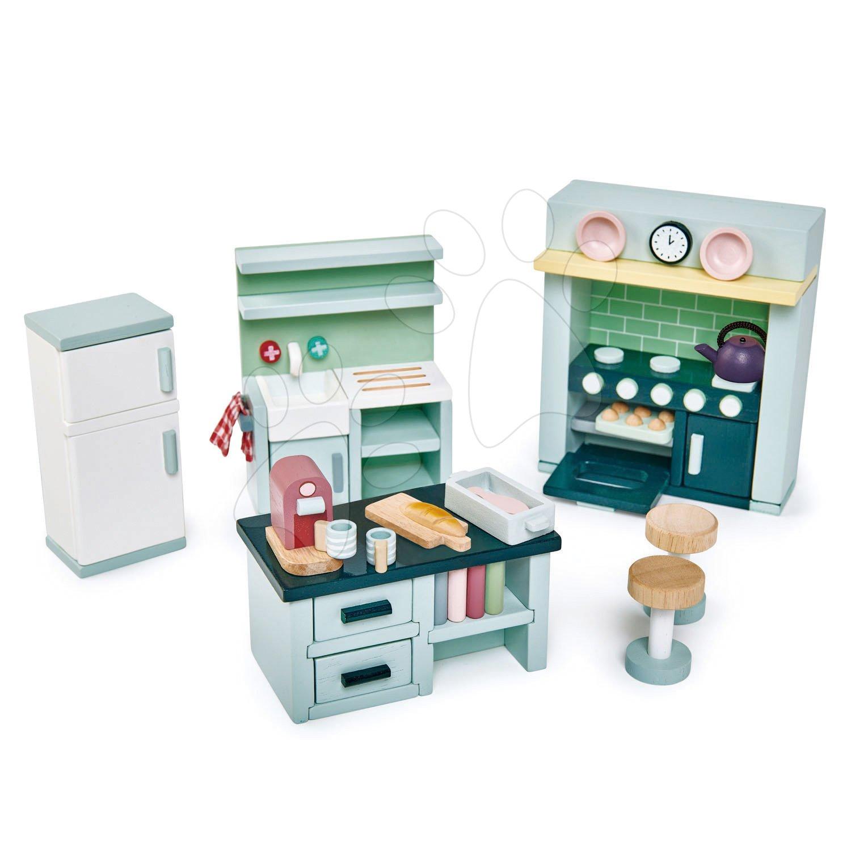 Drevený nábytok do kuchynky Dovetail Kitchen Set Tender Leaf Toys 6-dielna súprava s komplet vybavením a doplnkami