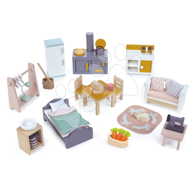 Fa bútorok Cottontail Cottage Starter Furniture Set Tender Leaf Toys 18 darabos készlet babaházba