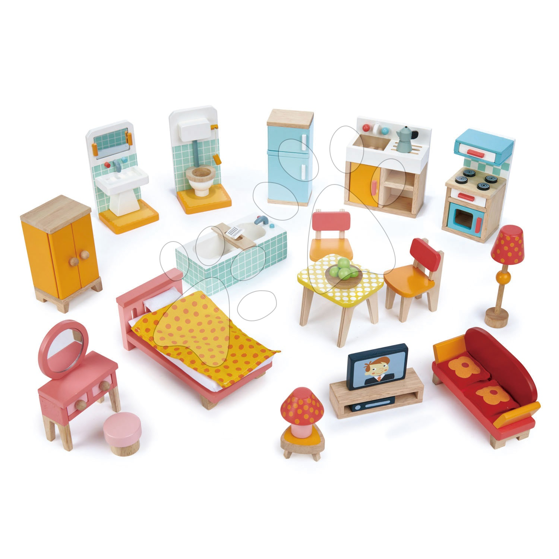 Drevený nábytok do domčeka pre bábiku Foxtail Villa Starter Furniture Set Tender Leaf Toys 22-dielna súprava