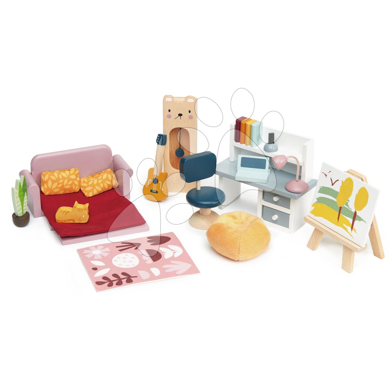 Drevený nábytok pre školáka Dolls House Study Furniture Tender Leaf Toys s komplet vybavením a doplnkami