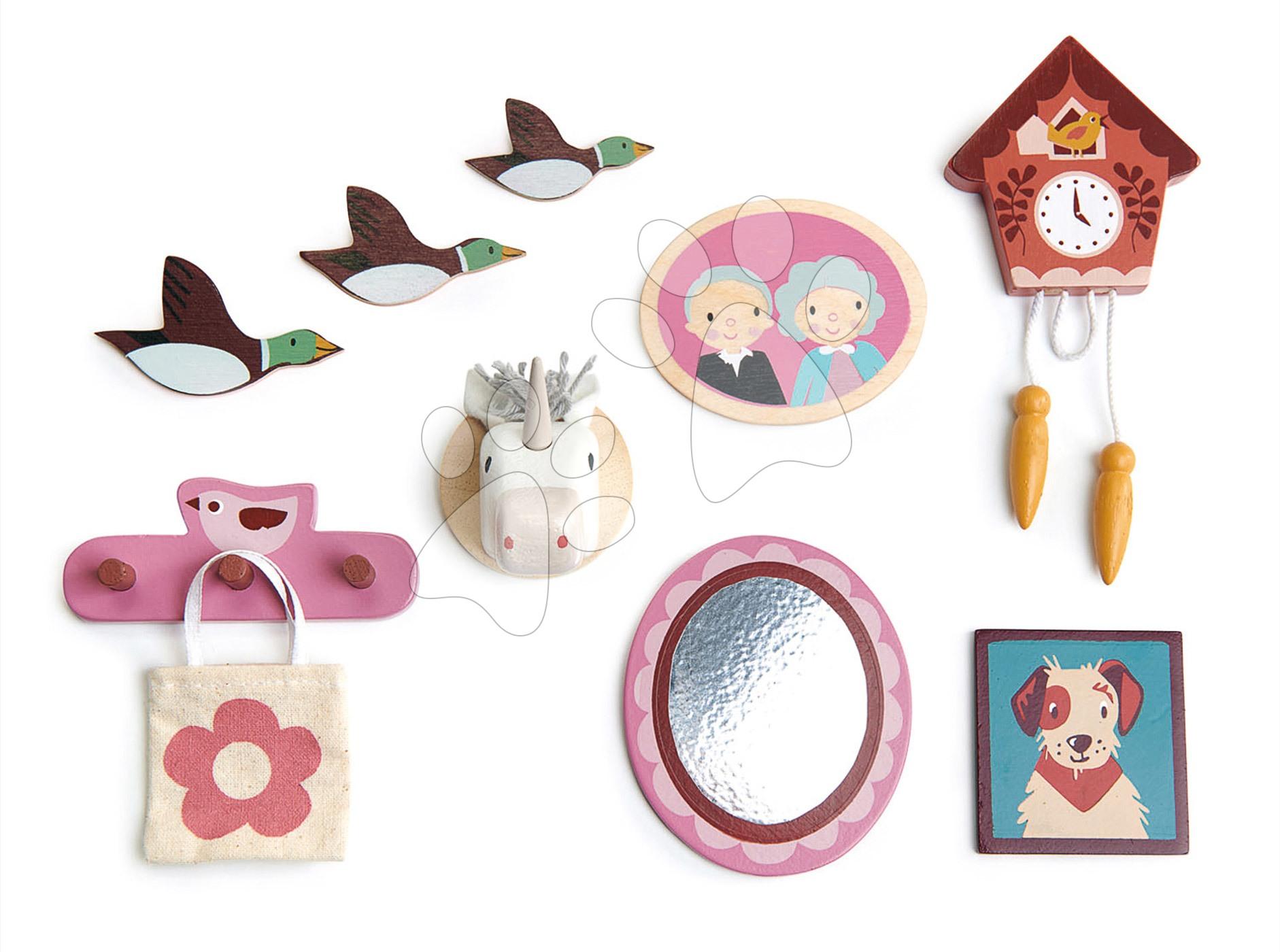 Drevené dekorácie na stenu Wall Décor Tender Leaf Toys k domčeku pre bábiku 10 druhov