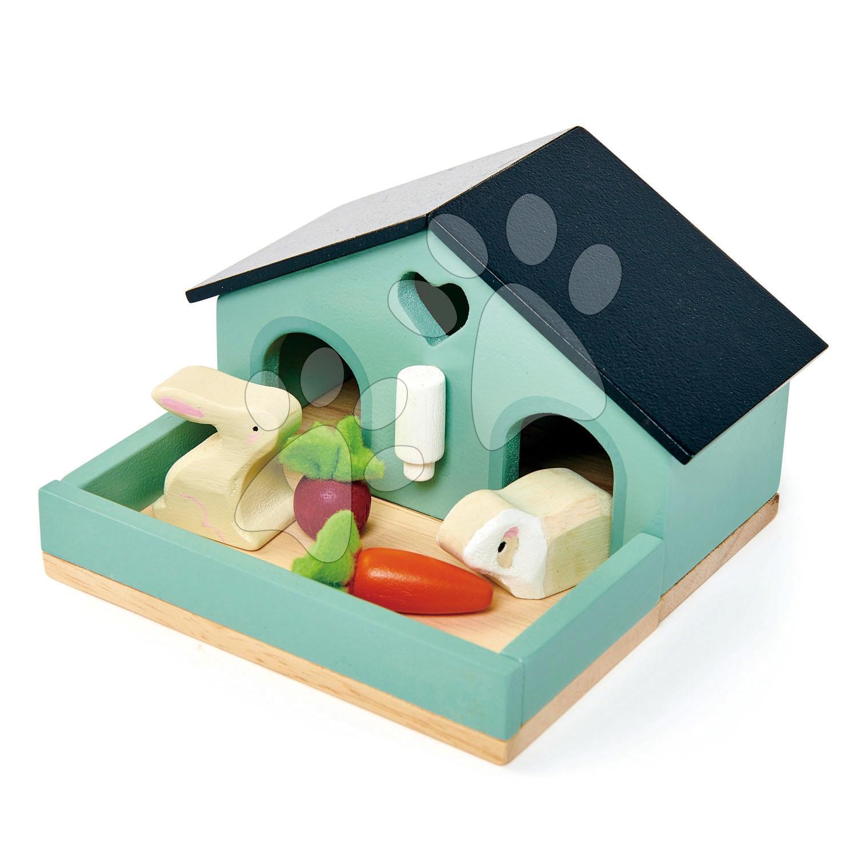 Drevené zajace v domčeku Pet Rabit Set Tender Leaf Toys s mrkvou