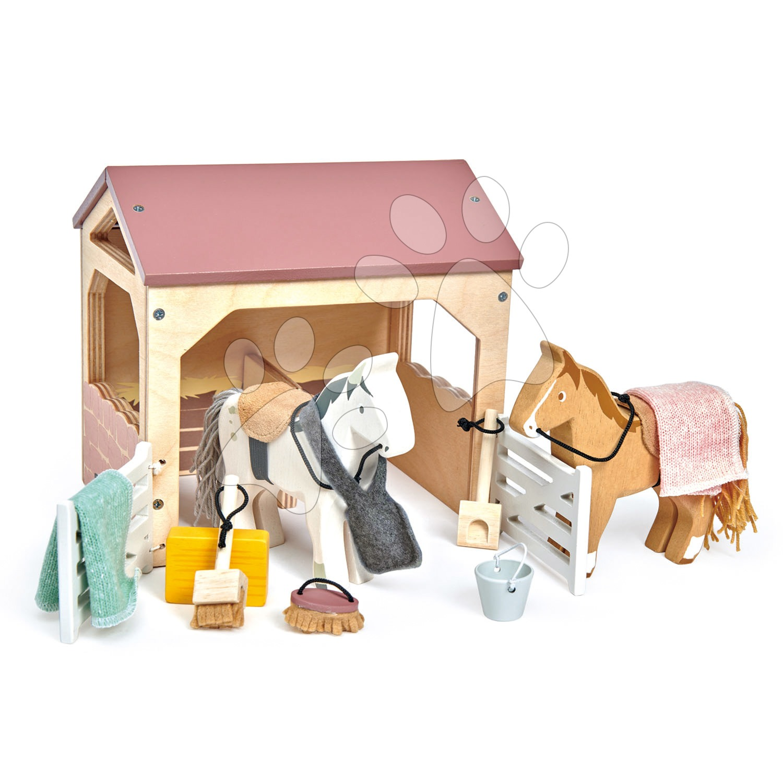 Dřevěná stáj s koňmi The Stables Tender Leaf Toys s dekou a doplňky