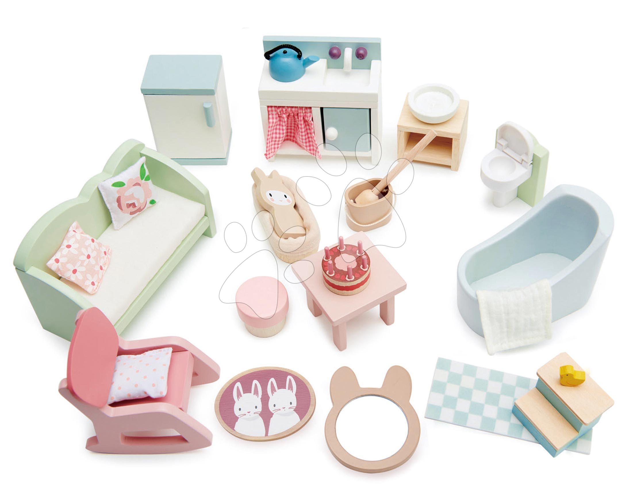 Drevený nábytok pre bábiku Countryside Furniture Set Tender Leaf Toys do vidieckeho domčeka pre bábiku