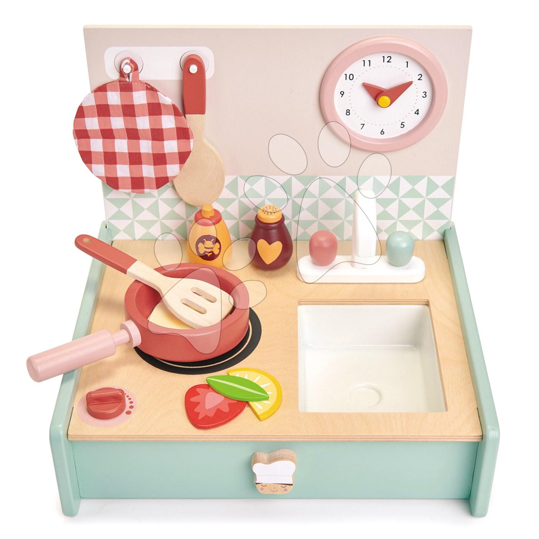 Dřevěná kuchyňka v šuplíku Kitchenette Tender Leaf Toys s hodinami pánvičkou a potravinami