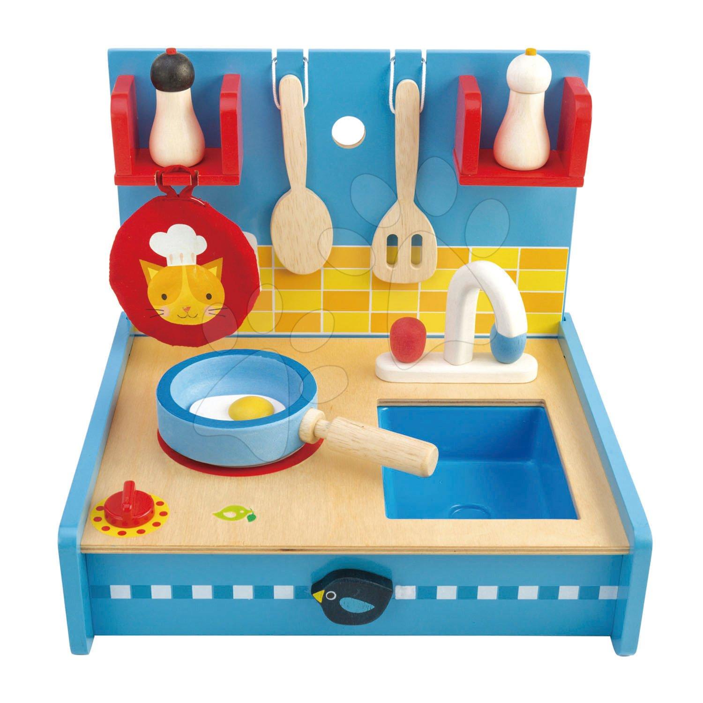 Drevená kuchynka Pop Up and Pack Away Tender Leaf Toys 8-dielna súprava s varnou doskou a drezom