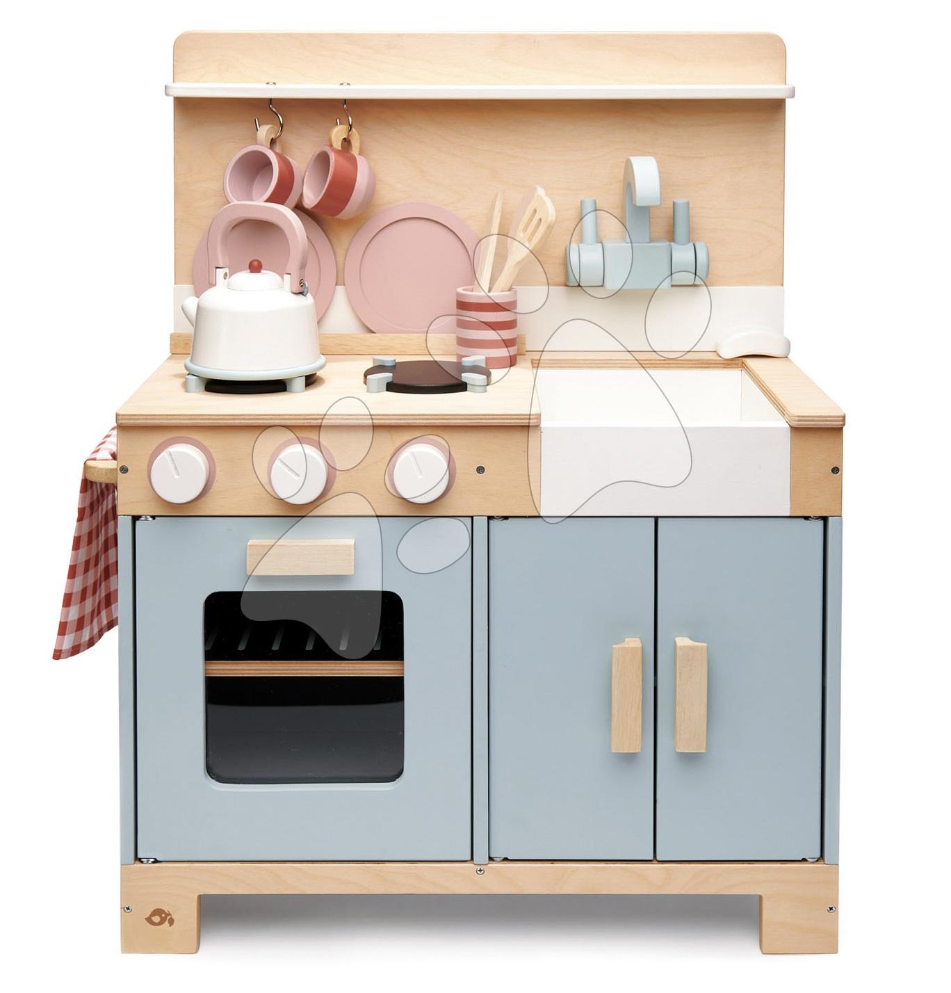 Dřevěná kuchyňka s chlebem Home Kitchen Tender Leaf Toys s čajníkem, šálky a nádobím